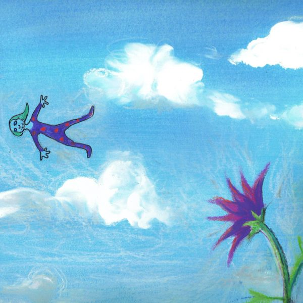 Illustrated clouds and flower