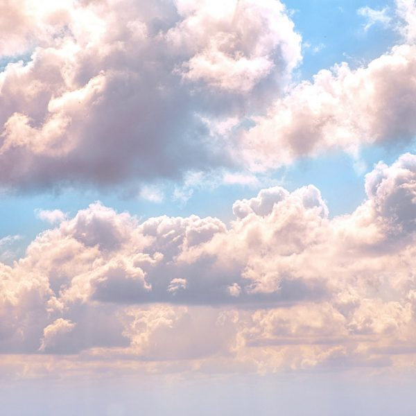 Fluffy white and pink clouds